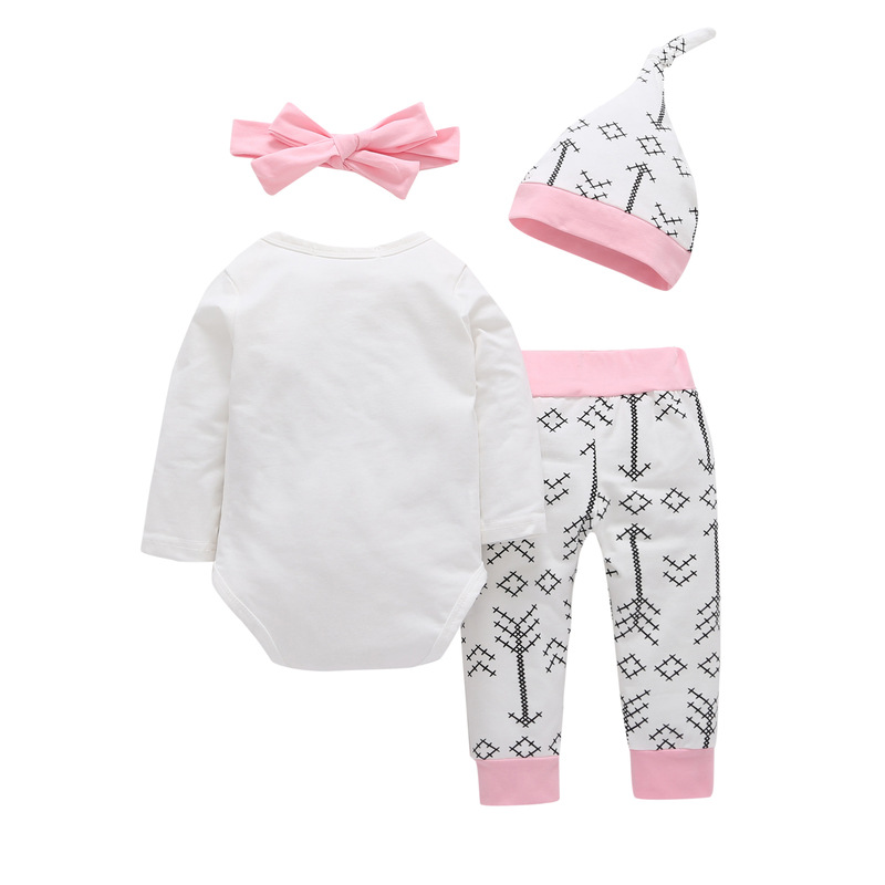 4PCS Sets Newborn Baby girls clothes Daddys Other Chick Bodysuit+Love Arrow Pants+Hat +Headband Infant Toddle Girl Outfit