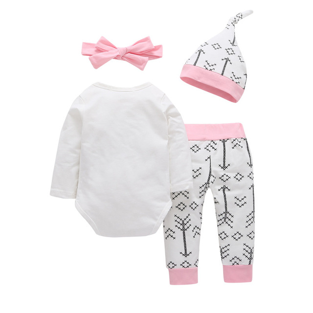 4bfda815d1ab 4PCS Sets Newborn Baby girls clothes Daddy s Other Chick Bodysuit+ ...