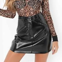 2017 New Fashion Women Autumn Winter High Waist Skirt PU Faux Leather Skirt Red Black Bodycon Short Zipper Mini Skirts