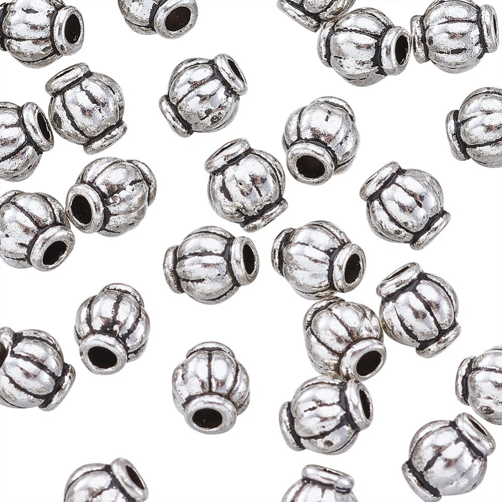 50pcs Tibetan Style Barrel Beads Lead Free Nickel Free Cadmium Free Silver 6mm