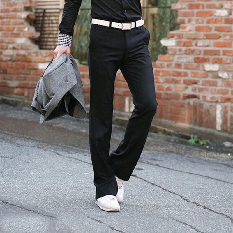 Business bell Bottom pants Men 39 s Slim Vertical Straight trousers British Korean Suit Men 39 s pants Drooping Big pants Size 28 37 in Flare Pants from Men 39 s Clothing