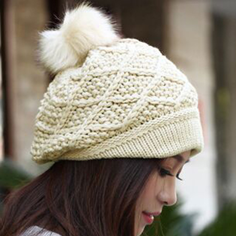 62983f93782 Free Shipping 2015 Hot Sell Hat NEW Women Winter Fashion Knitted Caps Rabbit  hair Ball Warm Women Hat Skullies 7 colors-in Skullies   Beanies from  Apparel ...