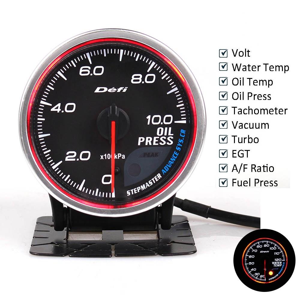 Defi Adiantamento BF 2.5 polegada 60mm 7 Cores Turbo Boost Auto Calibre Turbo Boost Temp Óleo medidor de Temperatura Da Água Óleo imprensa com Sensor Eletrônico