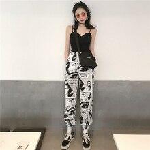 Lychee Girls Spring Autumn Women Harem Pants Cartoon Print Elastic Wasit Ankle Length Trousers Causal Loose Pants
