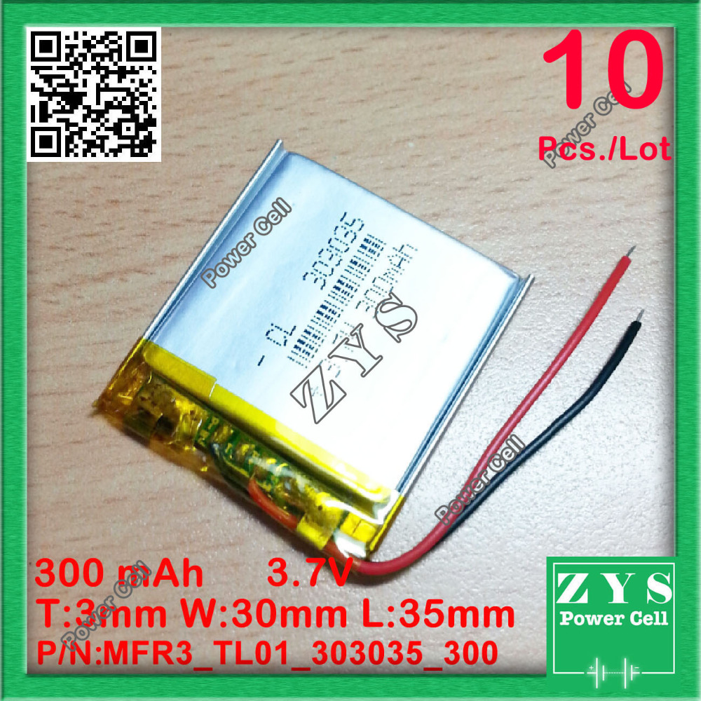 10 pcs./Lot 3.7V 300mAh 303035 Lithium Polymer Li-Po li ion Rechargeable Battery cells For Mp3 MP4 MP5 GPS PSP mobile bluetooth стоимость