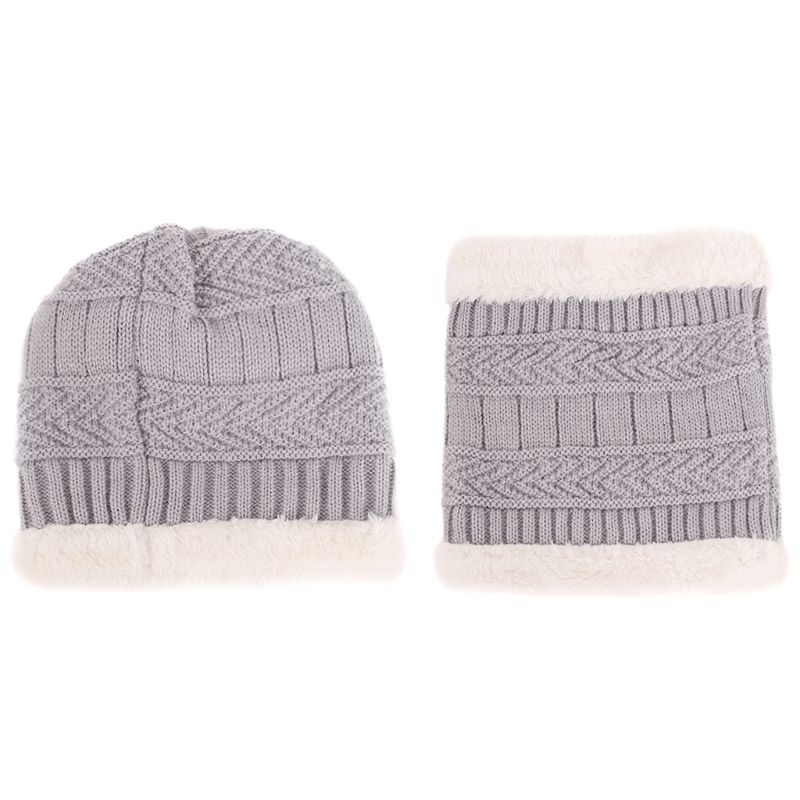 2Pcs/Set Children Kids Winter Knitted Hat Solid Color Thicken Fleece Lining Windproof Snow Ski Beanie Cap With Collar Neck Scarf