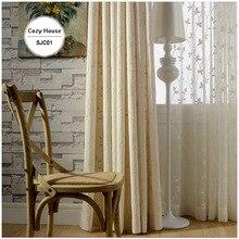 Haute Qualité Tissu Blackout Rideaux Pour Salon Chambre Stores Rideaux Panneaux Brodé Cortinas Fenêtre Traitements Blanc