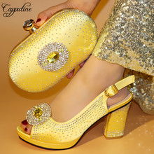 Capputine Fashion Decorated With Rhinestone Gold Shoes And Bag Set Nigerian High Heels Shoes And Bag Set For Party On Stock