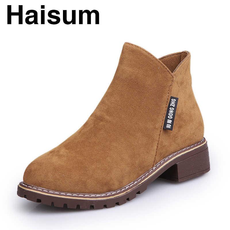 Kalın alt Haisum Botları Fırçalayın Patik Kadınlar Kısa Chelsea Çizmeler kadın ayakkabısı H-A-1