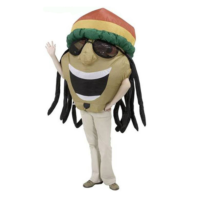 Women Men Adult Inflatable Jamaican Costume Blow Up Suit Indian Big Head Halloween Christmas Party Carnival Cosplay Fancy Dress