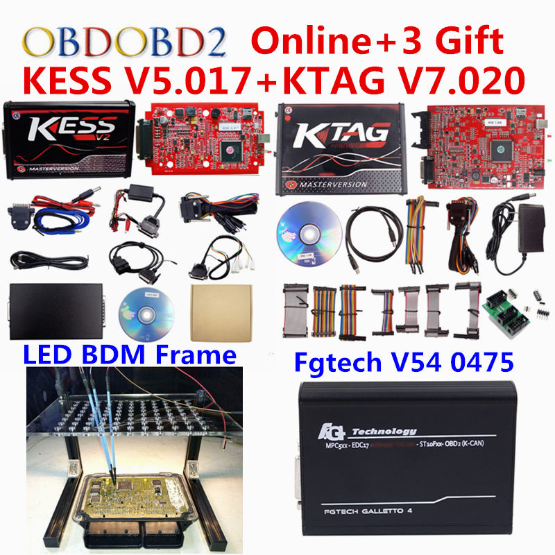 ECU Programmer Online EU Red Kess V2 V5.017+Unlimited KTAG V7.020+EU 0475 FGTECH Galletto 4 V54 BDM Frame Car Truck Tuning Tool new version v2 13 ktag k tag firmware v6 070 ecu programming tool with unlimited token scanner for car diagnosis