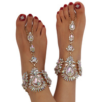 Holylove 1 Pair 4 Colors Crystal Foot Jewelry For Women Barefoot Sandals Beach Wedding With Gift