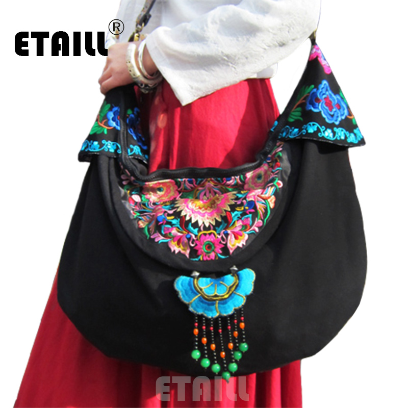 Vintage Handmade Hmong Tribal Ethnic Thai Indian Boho Linen Embroidery Women's Shoulder Crossbody Bag Handbag Sac a Dos Femme yunnan hmong vintage ethnic embroidered boho indian floral embroidery thailand famous brand logo bag and handbag sac a dos femme