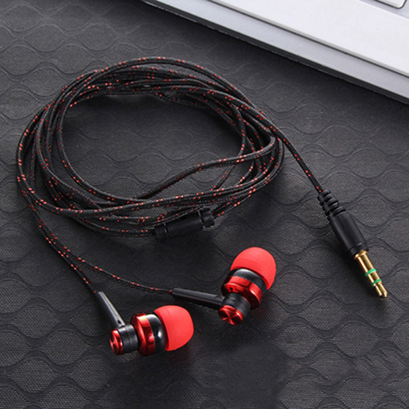 Hangrui MP3 MP4 Wiring Subwoofer Earbuds Braided Rope Wire Cloth Rope Earplug earphone for iphone for samsung for mobile phone