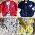 Novas Crianças cardigan Primavera e Outono meninos e meninas do bebê de Mickey Mouse 100% algodão em polos cardigan single-breasted jaqueta casaco