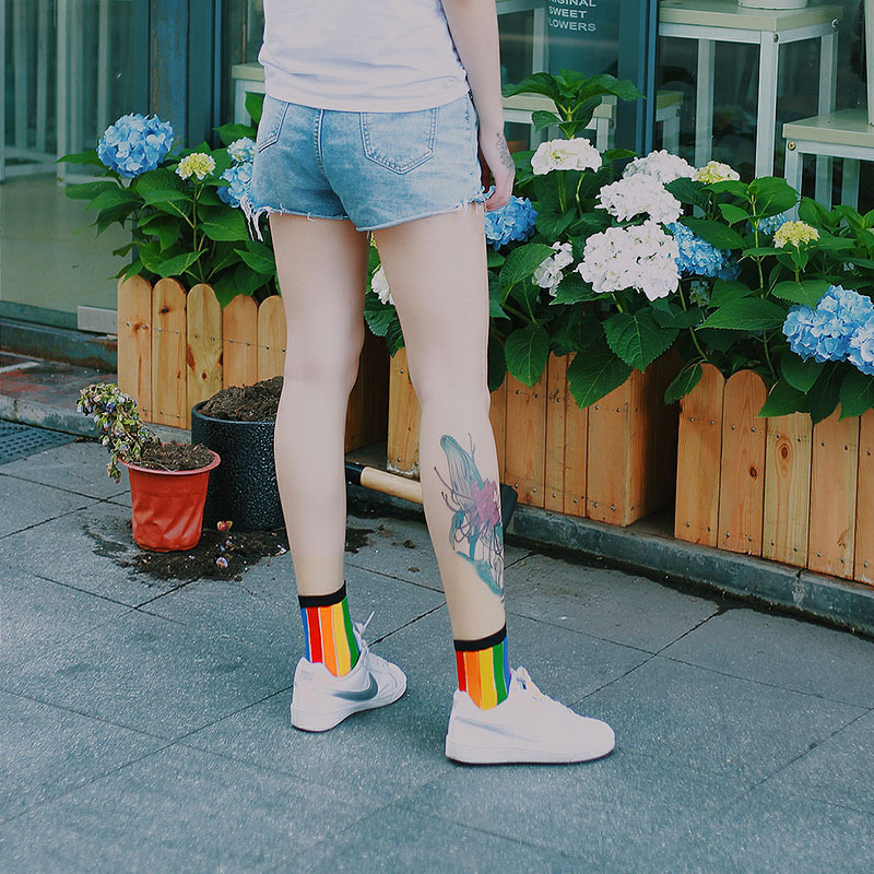 Summer Hollow Striped Vertical Bar Through The Skin Women   Socks   Cotton Rayon Rainbow Color Mesh Cool Fashion Sexy Thin   Socks   New