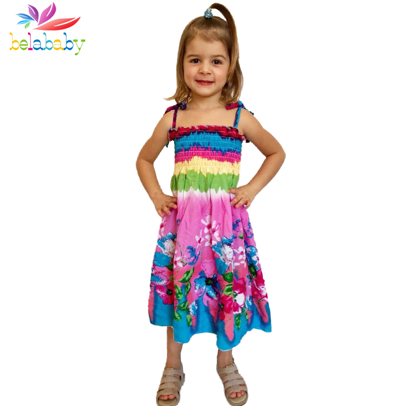 Belababy Summer Bohemian Beach Girls Dress With Beading Necklace Sundress Floral Sling Dress For Girl Vestido Infantil bohemian bell sleeve floral midi dress