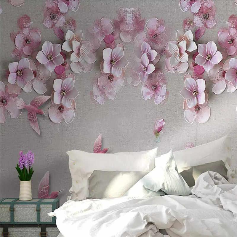 Fleur de pêche stéréo TV fond mur professionnel production murale usine en gros papier peint mural affiche photo mur