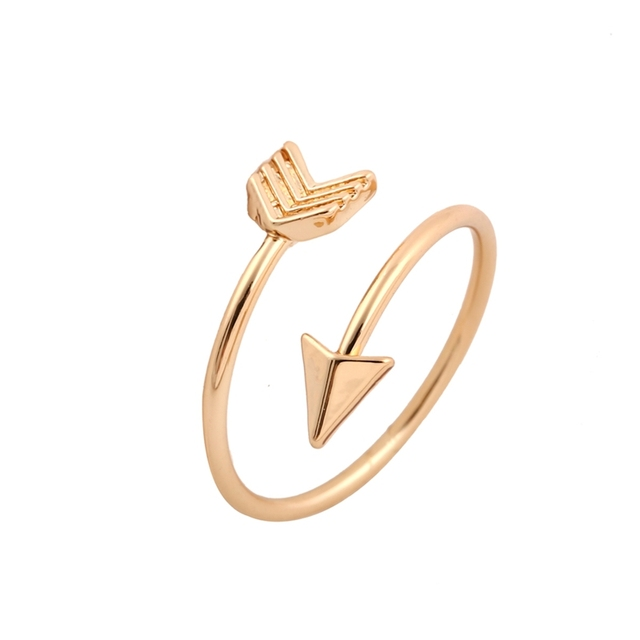 Shuangshuo 2017 Fashion New Arrival Gold Ring Vintage Jewelry Ring Adjustable Brass Small Arrow Rings for Women wedding Rings