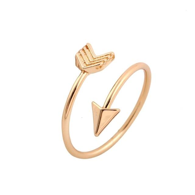 Shuangshuo 2017 אופנה הגעה חדשה זהב טבעת בציר תכשיטי טבעת מתכוונן פליז קטן חץ טבעות לנשים חתונה טבעות