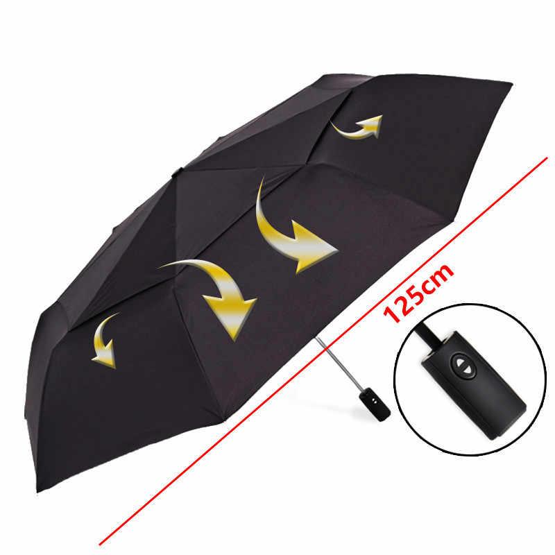 Сильный ветронепроницаемый 125 см Большой Автоматический Зонт мужской Двухслойный 3 складной зонтик для гольфа Зонт от дождя женский дорожный зонтик