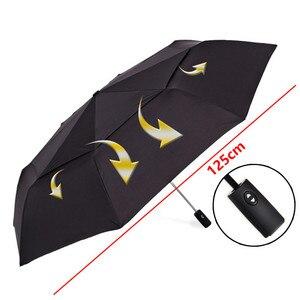 Image 3 - Forte resistência ao vento 125cm grande guarda chuva automático masculino dupla camada 3 dobrável paraguas guarda chuva de golfe chuva feminino guarda chuva de viagem