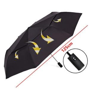 Image 3 - Starke Wind Widerstand 125cm Große Automatische Regenschirm Männer Doppel Schicht 3 Folding Paraguas Golf Regenschirm Regen Frauen Reise Sonnenschirm
