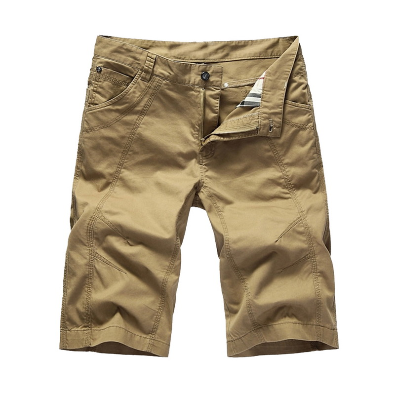 LASPERAL Plus Size Casual Loose Men Short Pants Solid Loose Summer Men Shorts Military Zipper Knee Length Men Cargo Shorts