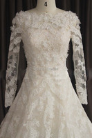 2015 Long Sleeve Wedding Dresses Real Picture Lace Bridal Gown A Line Beading Sash Detachable Vestido