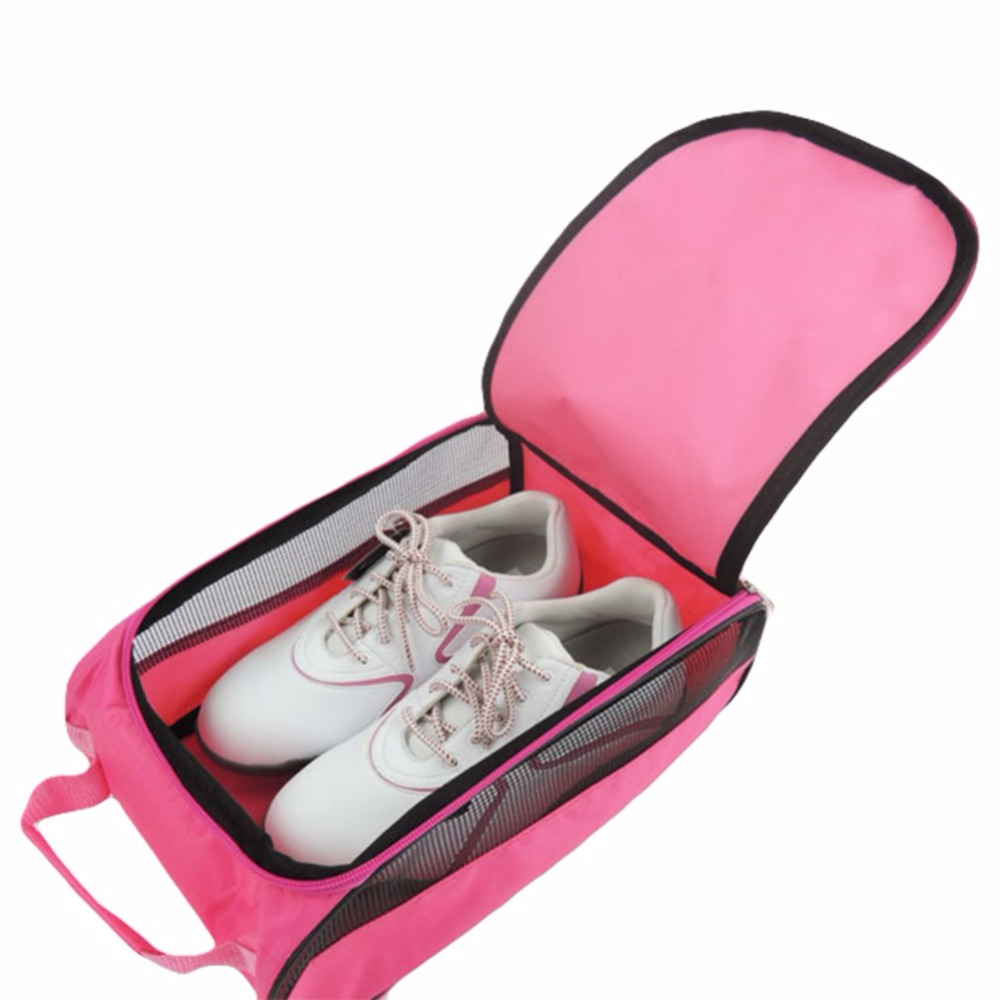 Golf Durable Shoe Bag Golf Shoe Package Zipper Travel Carrier With Mesh Ventilation Golf Accessory Outdoor Sports Organizer