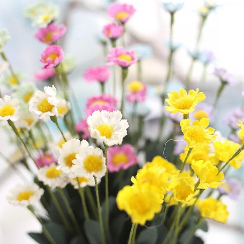 15 cabezas de flor de la margarita de gerbera flor de seda ramo de la boda