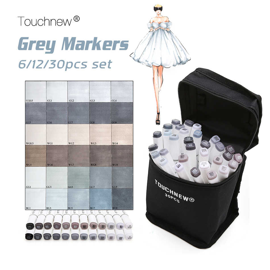 Touchnew 6/12/30 Colors Grayscale Art Marker Pen  Double-Ended Sketch Markers Alcohol Based Ink Neutral Gray Tones Art Supplies