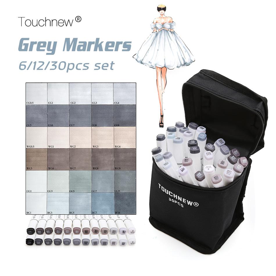 Touchnew 6/12/30 colores grises arte marcador de doble punta Marcadores del bosquejo tinta a base de alcohol neutral tonos grises fuentes del arte