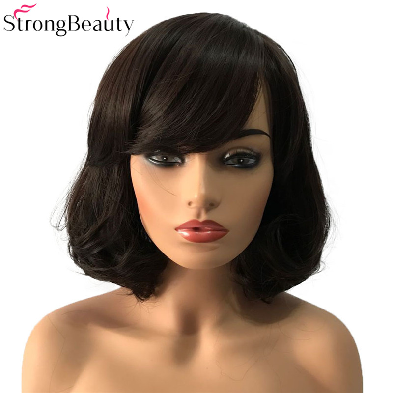 StrongBeauty Short Synthetic Wigs Bob Hair Black/Dark Brown With Bangs Natural Women's Wig