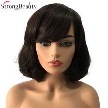 StrongBeauty короткие синтетические парики боб волосы черный/темно коричневый с челкой натуральный женский парик