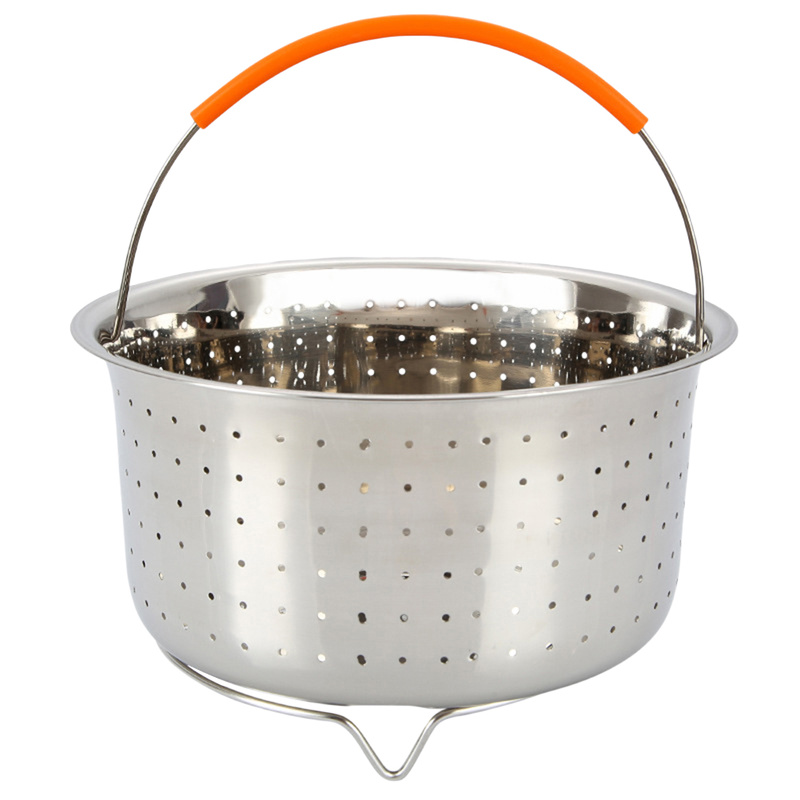 21.5X12.5CM Stainless Steel Rice Cooker Steam Basket Pressure Cooker Anti-scald Steamer Multi-Function Fruit Cleaning Basket