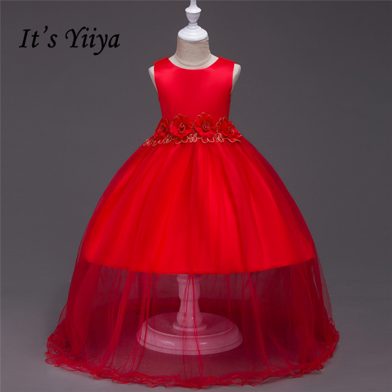 It's YiiYa 3 Colors Sleeveless O-Neck Floor-Length Lace Bow Kids Princess   Flower     Girls     Dress   Gauze Skirt Ball Gown TS001