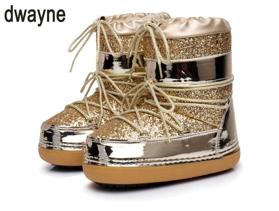 Oro Caliente Botines Bling Zapatos De Casual Nieve Botas Invierno Antideslizante Piel Mujer Plataforma Negro plata oro 2018 Mujeres w7xpR8q1