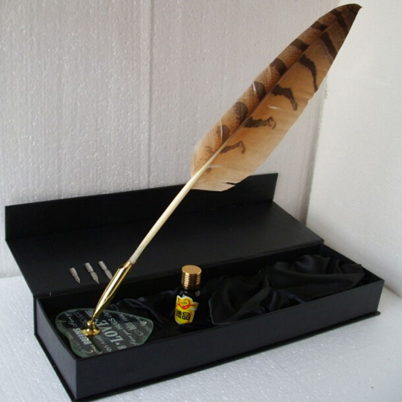 Nature Owl Feather Dip Pen Set Muti Fucntion Feather Pen nature explorer box set