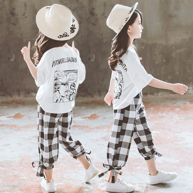 2019 Summer Girls Clothing Sets Girls Short Sleeve T-shirt+Casual Pants Teen Girl Clothes 8 10 12 14 Years back to school outfit