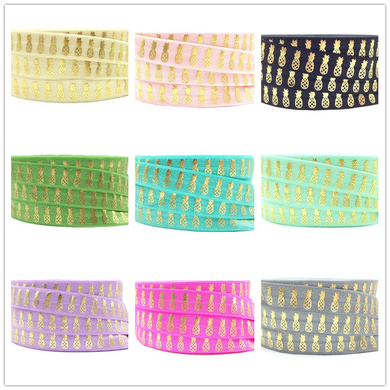 16mm 10Y Pineapple Gold Foil Print Fold Over Elastic Ananas FOE Ribbon Diy Headband Sewing Party Accessories Wedding  Decoration