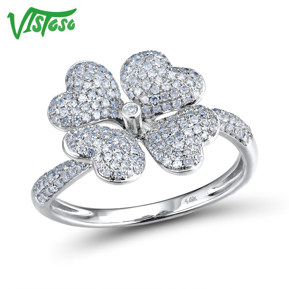 VISTOSO bagues en or pour femmes véritable 14 K 585 bague en or blanc diamant étincelant promesse bagues de fiançailles anniversaire bijoux fins