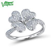 VISTOSO Gold Rings For Women Genuine 14K 585 White Gold Ring Sparkling Diamond Promise Engagement Rings Anniversary Fine Jewelry