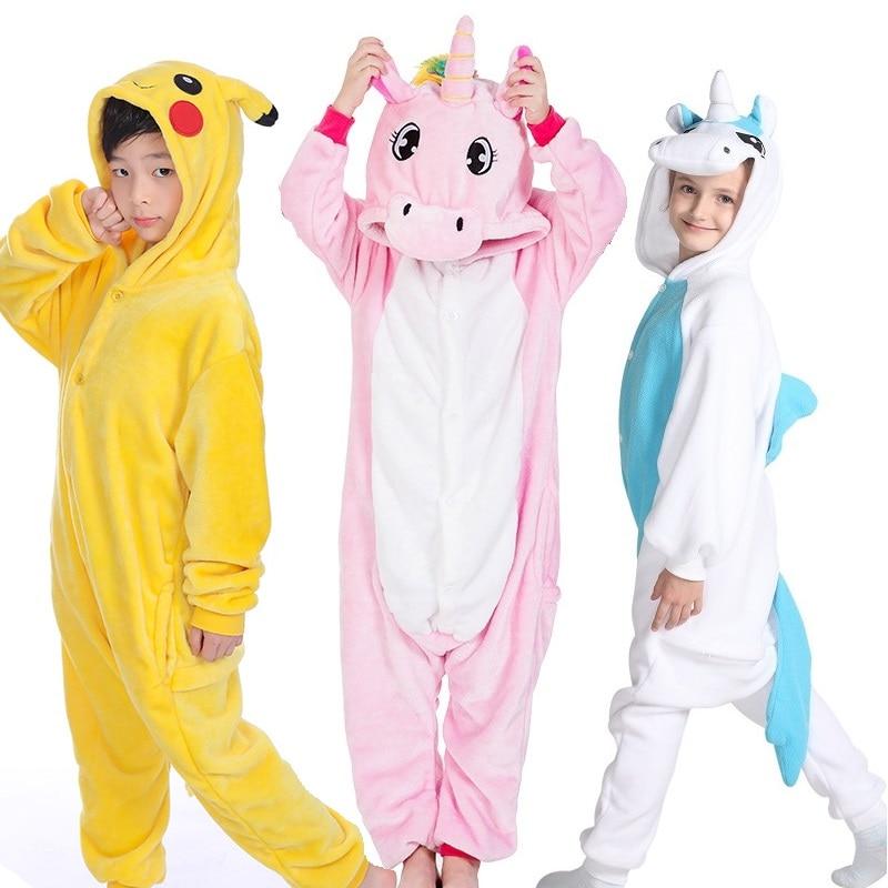 Детские пижамы с животными для девочек; теплая зимняя Пижама для детей; Одежда для девочек