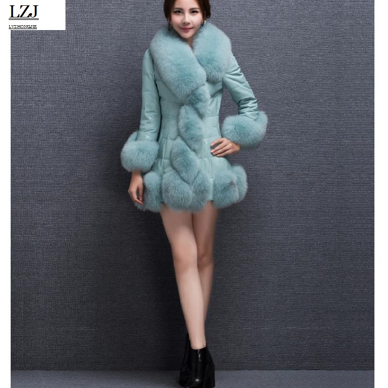 LZJ2017 winter new womens fox fur coat bomber jacket jacket female coat warm PU fur jacket long fur coat black blue purple PC1