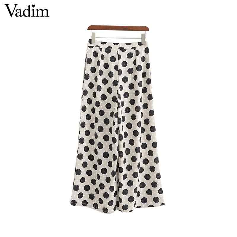 Vadim women vintage polka dot wide leg pants zipper fly design pockets casual female ankle length chic trousers mujer KA954