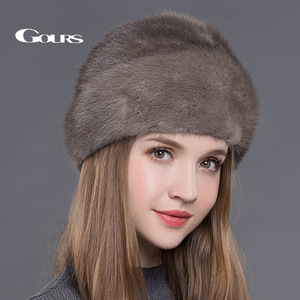Image 5 - Gours Womens Fur Hats Whole Real Mink Fur Hats with Crown Luxury Fashion Russian Winter Thick Warm High Quality Cap New Arrival