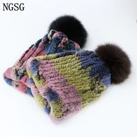 NGSG unisex pompom rabbit fur hats skull caps for children knitted camouflage skullies beanies warm male hat winter women hat