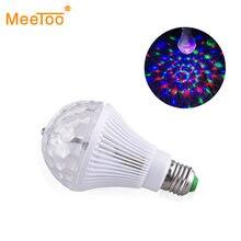 Lámpara LED E27 para escenario, luz RGB de 5W y 9W, colorida bola mágica de cristal, sonido activado, KTV, DJ, Bola de discoteca, luces láser para fiesta