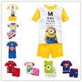 Новая мода с коротким рукавом детская одежда детская одежда мальчик устанавливает костюмы 2 шт. детские мальчиков пижамы